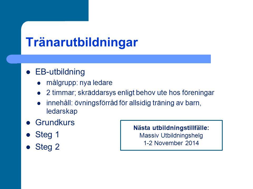 Tränarutbildningar EB-utbildning målgrupp: nya ledare 2 timmar; skräddarsys enligt behov ute hos föreningar innehåll: övningsförråd för allsidig träni