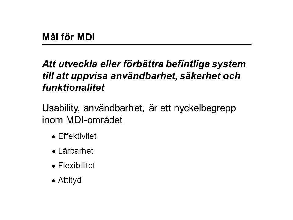 Mål för MDI Usability, användbarhet, är ett nyckelbegrepp inom MDI-området Att utveckla eller förbättra befintliga system till att uppvisa användbarhet, säkerhet och funktionalitet  Effektivitet  Lärbarhet  Flexibilitet  Attityd