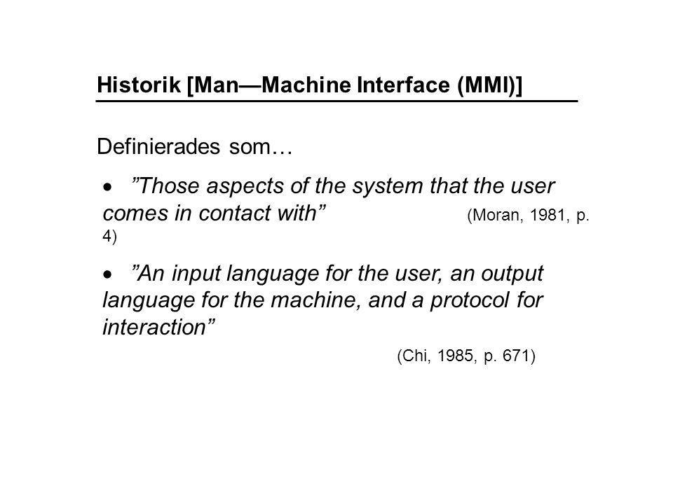 Human—Computer Interaction (HCI)  MDI kan avse själva aktiviteten, dvs.