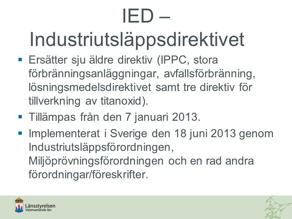 IED – Industriutsläppsdirektivet  Ersätter sju äldre direktiv (IPPC, stora förbränningsanläggningar, avfallsförbränning, lösningsmedelsdirektivet sam