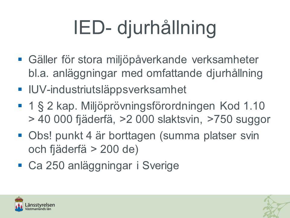 IED – vägledning/information  Jordbruksverket ansvarar för information när det gäller verksamheter enligt 1.10.