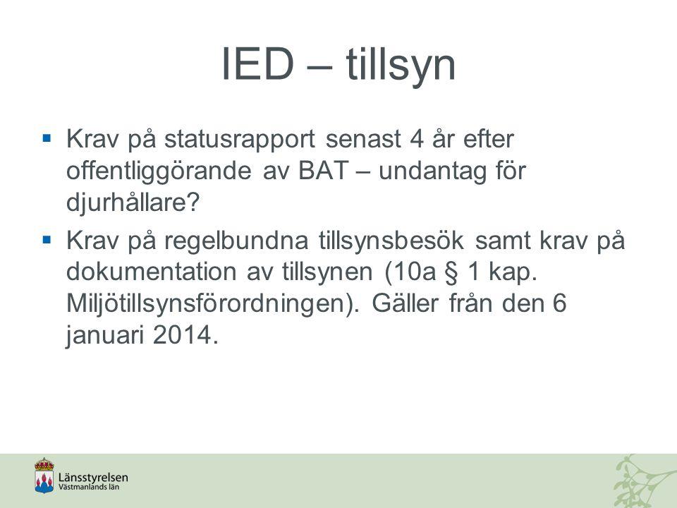 IED – tillsyn  Krav på statusrapport senast 4 år efter offentliggörande av BAT – undantag för djurhållare?  Krav på regelbundna tillsynsbesök samt k