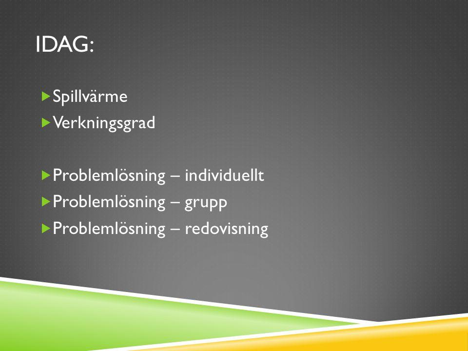 IDAG:  Spillvärme  Verkningsgrad  Problemlösning – individuellt  Problemlösning – grupp  Problemlösning – redovisning