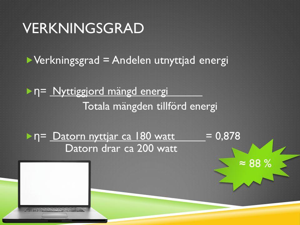 VERKNINGSGRAD  Verkningsgrad = Andelen utnyttjad energi  η = Nyttiggjord mängd energi Totala mängden tillförd energi  η = Datorn nyttjar ca 180 watt = 0,878 Datorn drar ca 200 watt ≈ 88 %