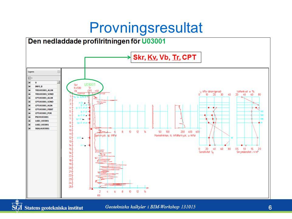 Geotekniska kalkyler i BIM-Workshop 131015 6 Provningsresultat