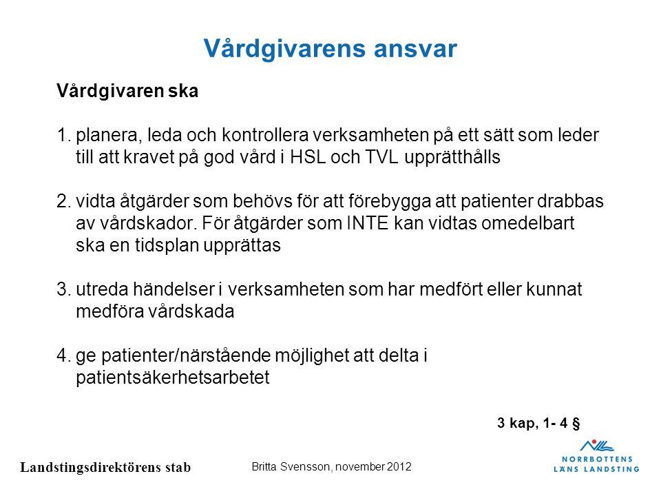 Landstingsdirektörens stab Britta Svensson, november 2012 Forts; vårdgivarens ansvar Vårdgivaren ska 5.