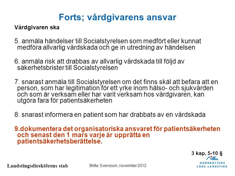 Landstingsdirektörens stab Britta Svensson, november 2012 Patientsäkerhetsberättelsen Dokumentationsskyldighet 9 § Vårdgivaren ska dokumentera hur det organisatoriska ansvaret för patientsäkerhetsarbetet är fördelat inom verksamheten.