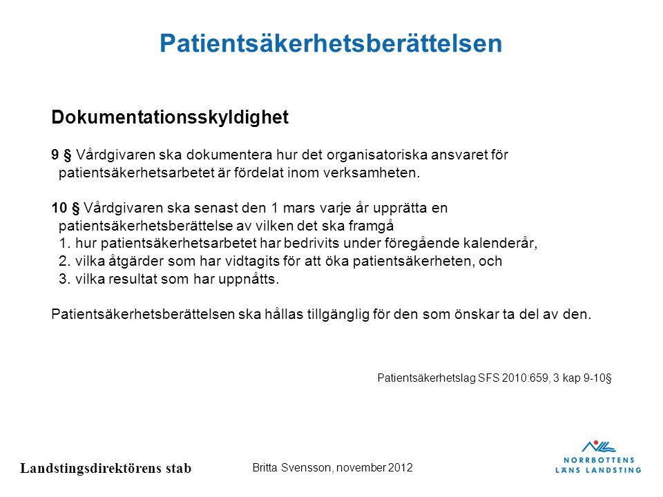Landstingsdirektörens stab Britta Svensson, november 2012 Patientsäkerhetsberättelsen 3 § Patientsäkerhetsberättelsen ska ha en sådan detaljeringsgrad att det går att bedöma hur det systematiska patientsäkerhetsarbetet har bedrivits i verksamhetens olika delar, och att informationsbehovet hos externa intressenter tillgodoses.