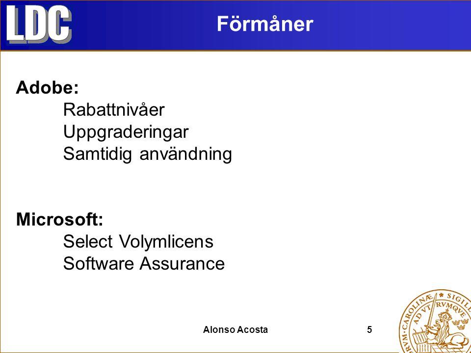 Alonso Acosta5 Förmåner Adobe: Rabattnivåer Uppgraderingar Samtidig användning Microsoft: Select Volymlicens Software Assurance