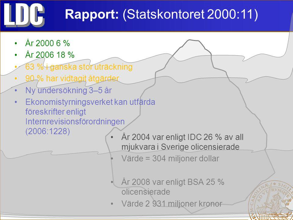 Rapport: (Statskontoret 2000:11) År 2000 6 % År 2006 18 % 63 % i ganska stor uträckning 90 % har vidtagit åtgärder Ny undersökning 3–5 år Ekonomistyrningsverket kan utfärda föreskrifter enligt Internrevisionsförordningen (2006:1228) År 2004 var enligt IDC 26 % av all mjukvara i Sverige olicensierade Värde = 304 miljoner dollar År 2008 var enligt BSA 25 % olicensierade Värde 2 931 miljoner kronor