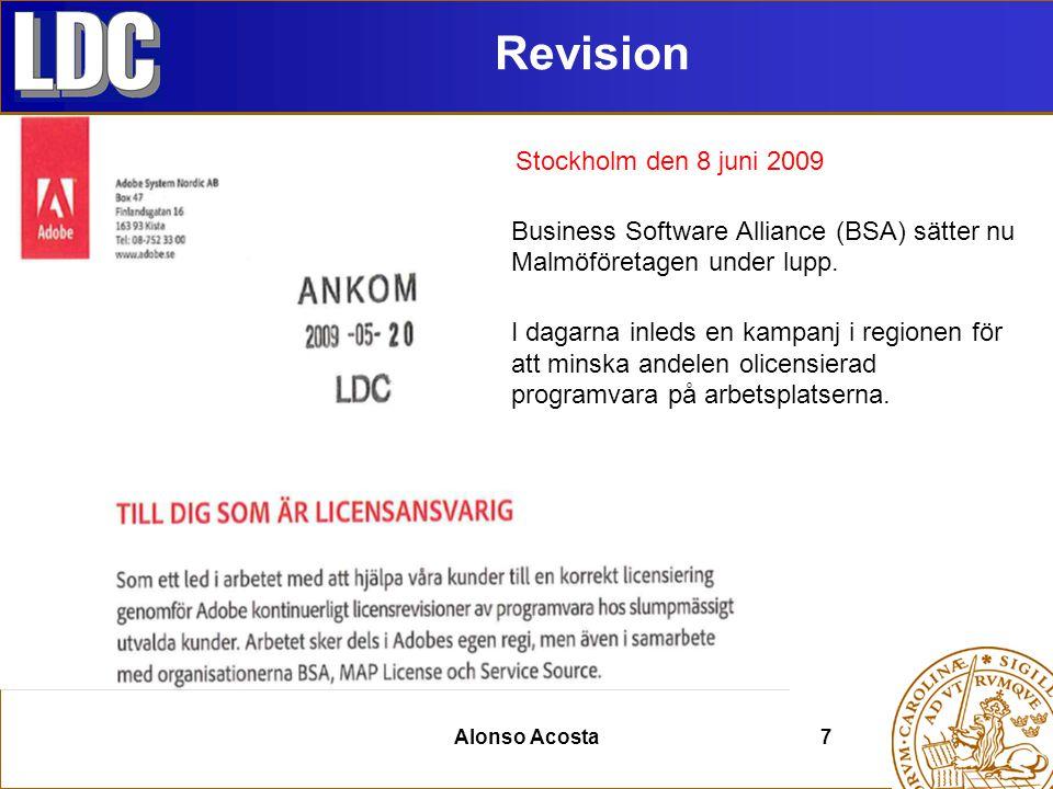 Alonso Acosta 8 www.ldc.lu.se/program Specialister Licens Administratör 29000 Programansvarig Leverantörer Mail Ärende stängsServiceDesk Single Point Of Contact