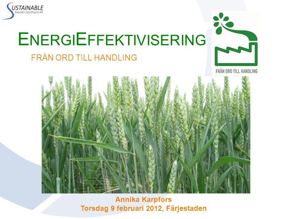 E NERGI E FFEKTIVISERING FRÅN ORD TILL HANDLING Annika Karpfors Torsdag 9 februari 2012, Färjestaden