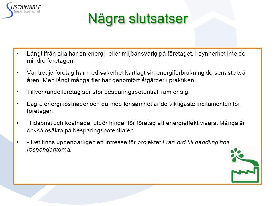 Långt ifrån alla har en energi- eller miljöansvarig på företaget.