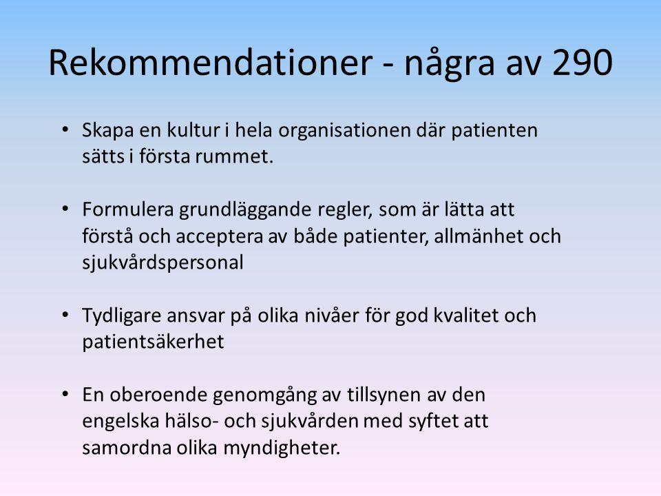 Rekommendationer - några av 290 Skapa en kultur i hela organisationen där patienten sätts i första rummet. Formulera grundläggande regler, som är lätt