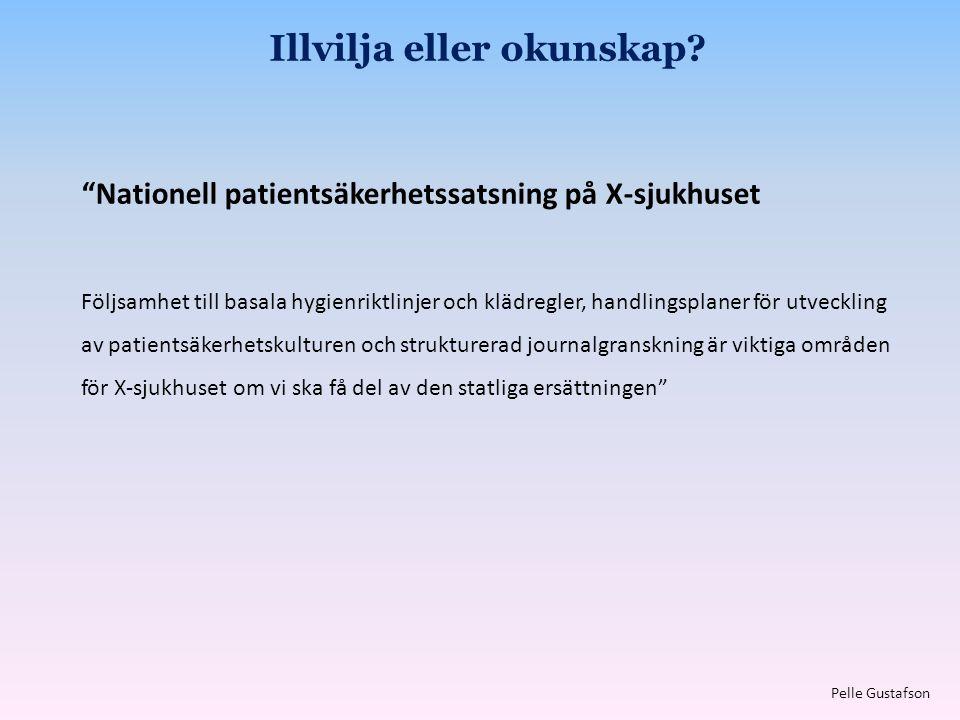 """""""Nationell patientsäkerhetssatsning på X-sjukhuset Följsamhet till basala hygienriktlinjer och klädregler, handlingsplaner för utveckling av patientsä"""