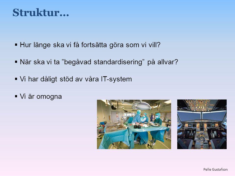 """ Hur länge ska vi få fortsätta göra som vi vill?  När ska vi ta """"begåvad standardisering"""" på allvar?  Vi har dåligt stöd av våra IT-system  Vi är"""