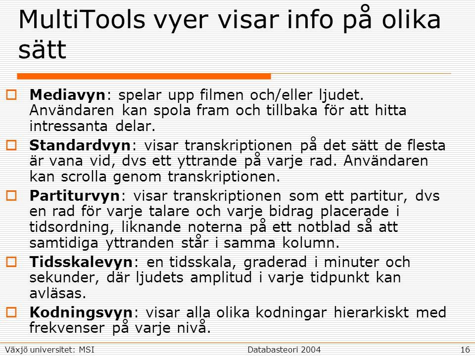 16Databasteori 2004Växjö universitet: MSI MultiTools vyer visar info på olika sätt  Mediavyn: spelar upp filmen och/eller ljudet.