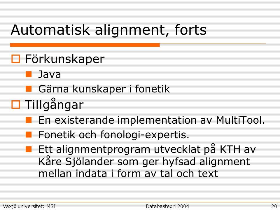20Databasteori 2004Växjö universitet: MSI Automatisk alignment, forts  Förkunskaper Java Gärna kunskaper i fonetik  Tillgångar En existerande implementation av MultiTool.