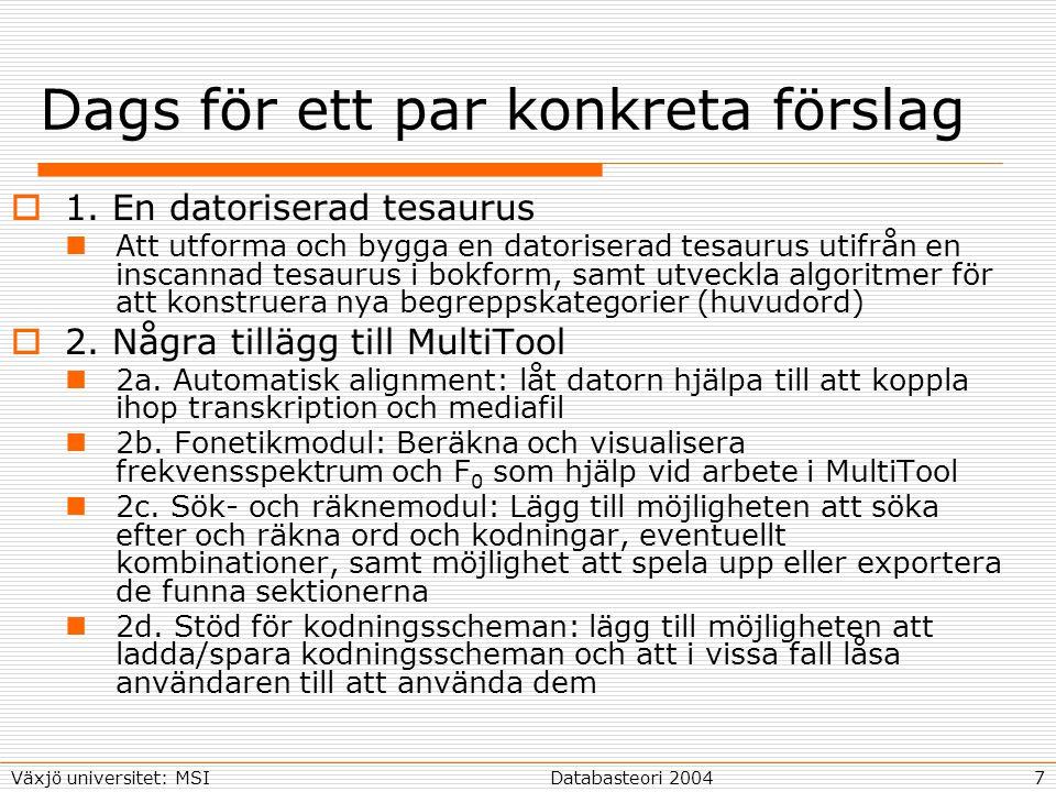 7Databasteori 2004Växjö universitet: MSI Dags för ett par konkreta förslag  1.