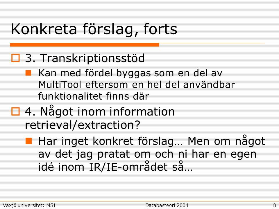 8Databasteori 2004Växjö universitet: MSI Konkreta förslag, forts  3.
