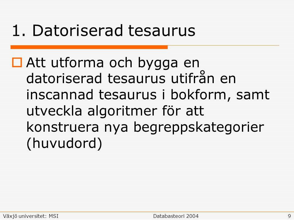 10Databasteori 2004Växjö universitet: MSI Två existerande tesaurusar  Brings (svenska) tesaurus finns inscannad 1000 huvudort Totalt över 100 000 ordformer Substantiv, verb och adjektiv i olika grupper  Roget´s thesaurus (engelska) finns, fast i ett annat format Samma struktur som Bring