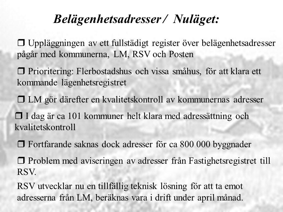 Belägenhetsadresser / Nuläget: r Uppläggningen av ett fullstädigt register över belägenhetsadresser pågår med kommunerna, LM, RSV och Posten r Fortfar