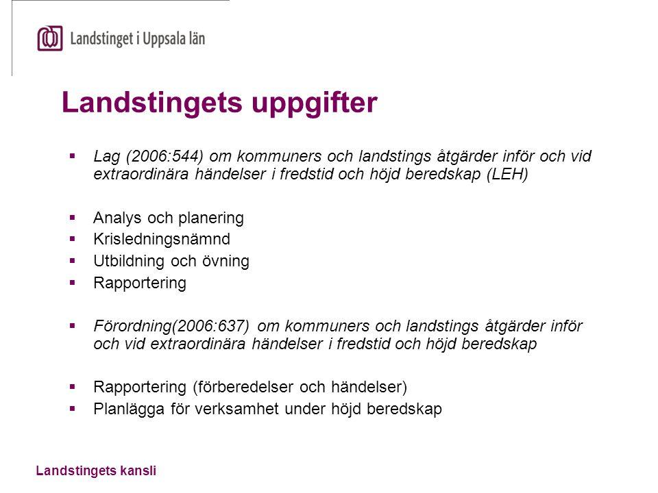 Landstingets kansli Landstingets uppgifter  Lag (2006:544) om kommuners och landstings åtgärder inför och vid extraordinära händelser i fredstid och