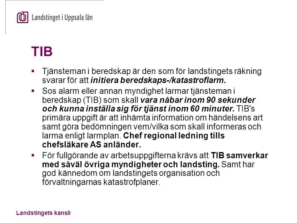TIB  Tjänsteman i beredskap är den som för landstingets räkning svarar för att initiera beredskaps-/katastroflarm.  Sos alarm eller annan myndighet