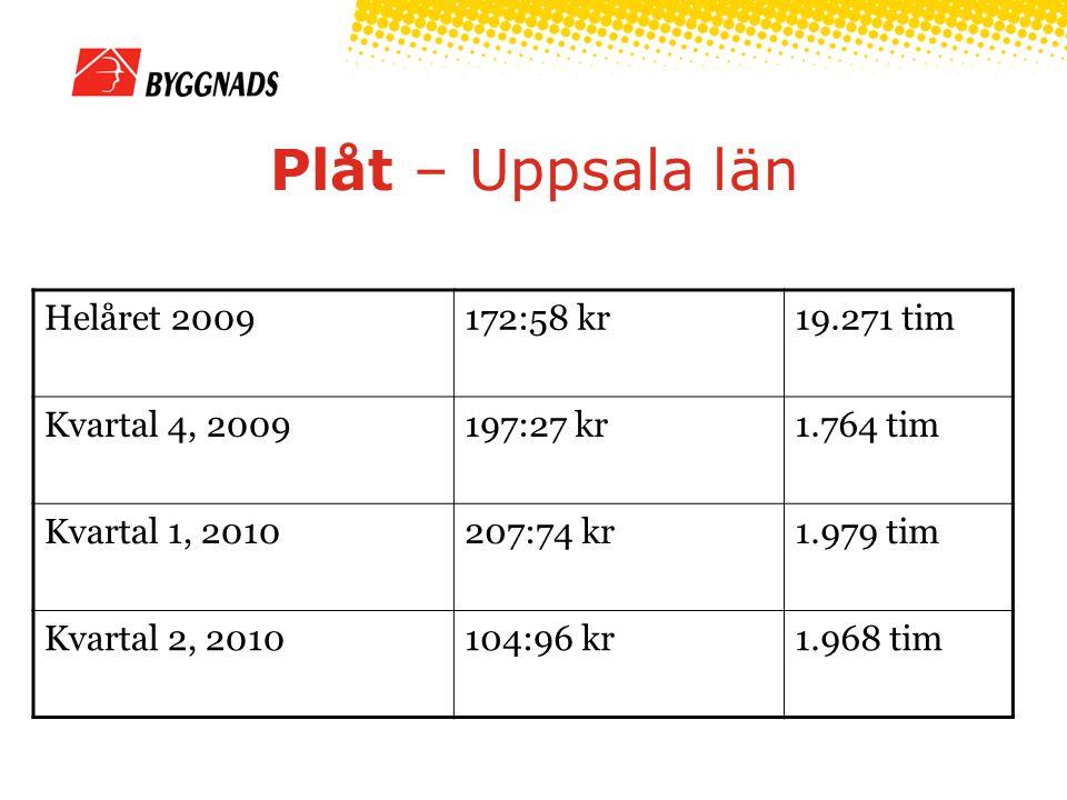 Plåt – Uppsala län Helåret 2009172:58 kr19.271 tim Kvartal 4, 2009197:27 kr1.764 tim Kvartal 1, 2010207:74 kr1.979 tim Kvartal 2, 2010104:96 kr1.968 tim