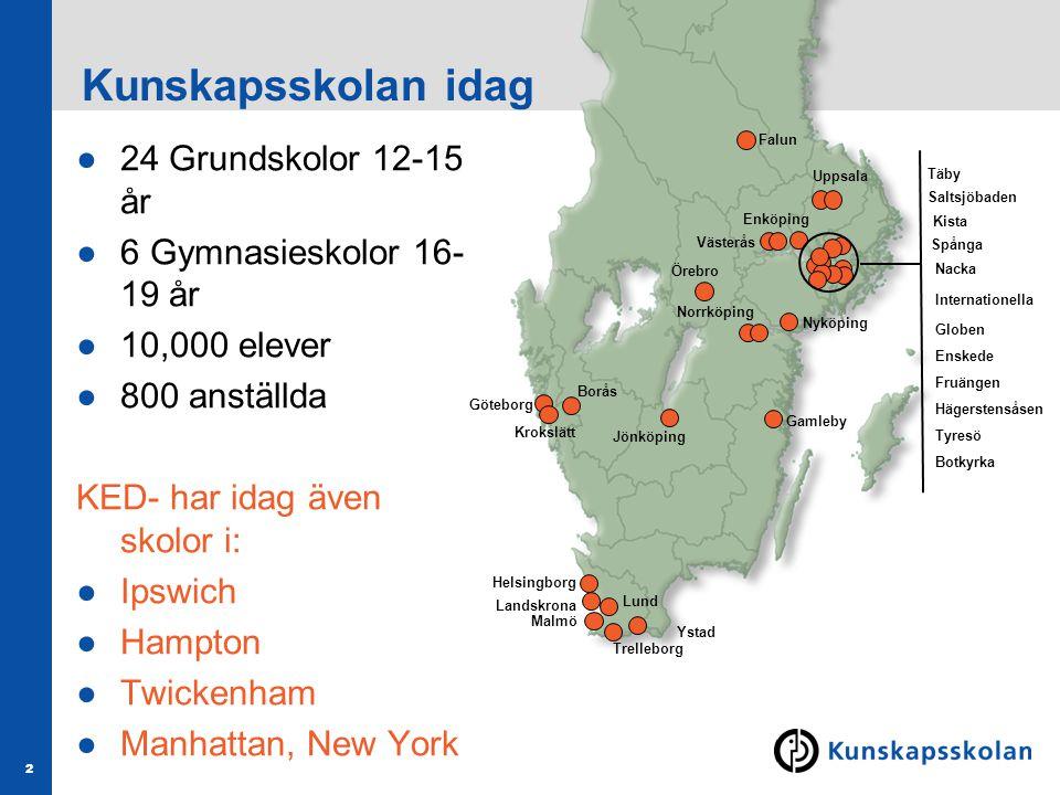 2 Kunskapsskolan idag Enköping Västerås Norrköping Ystad Malmö Landskrona Lund Helsingborg Gamleby Nyköping Göteborg Falun Kista Spånga Nacka Enskede