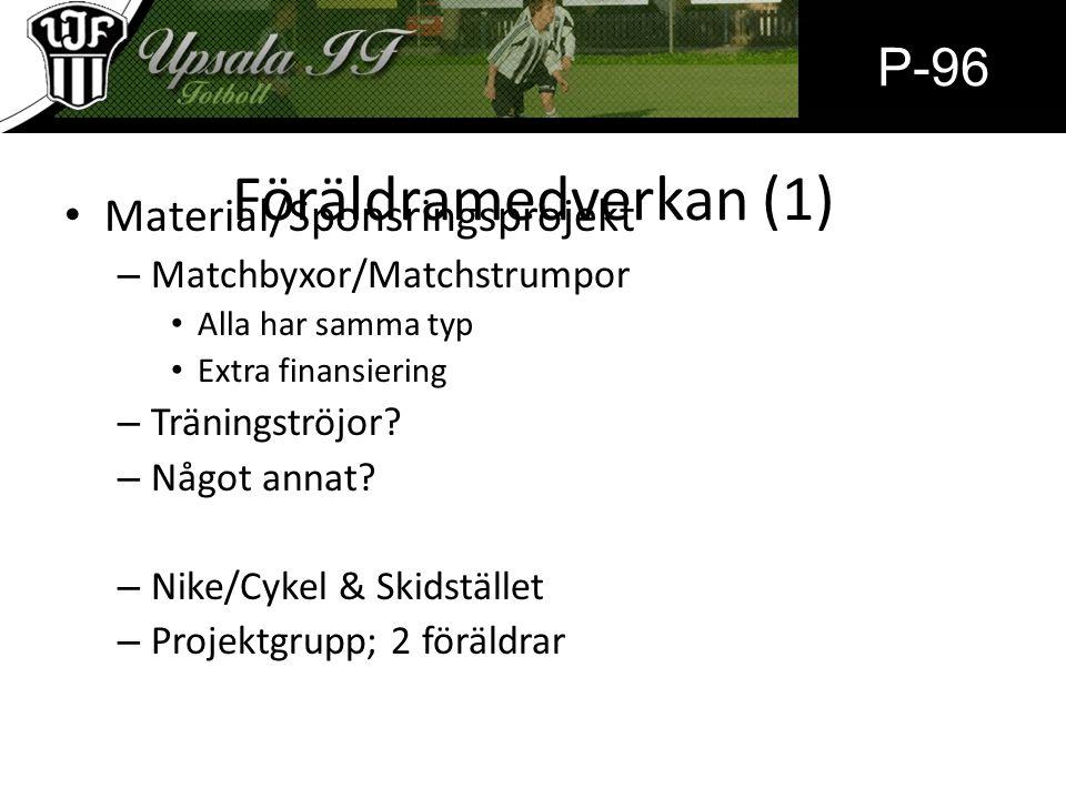 Föräldramedverkan (1) Material/Sponsringsprojekt – Matchbyxor/Matchstrumpor Alla har samma typ Extra finansiering – Träningströjor? – Något annat? – N