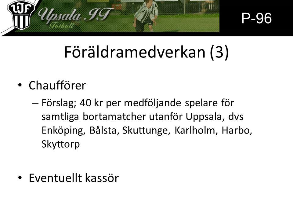 Föräldramedverkan (3) Chaufförer – Förslag; 40 kr per medföljande spelare för samtliga bortamatcher utanför Uppsala, dvs Enköping, Bålsta, Skuttunge, Karlholm, Harbo, Skyttorp Eventuellt kassör P-96