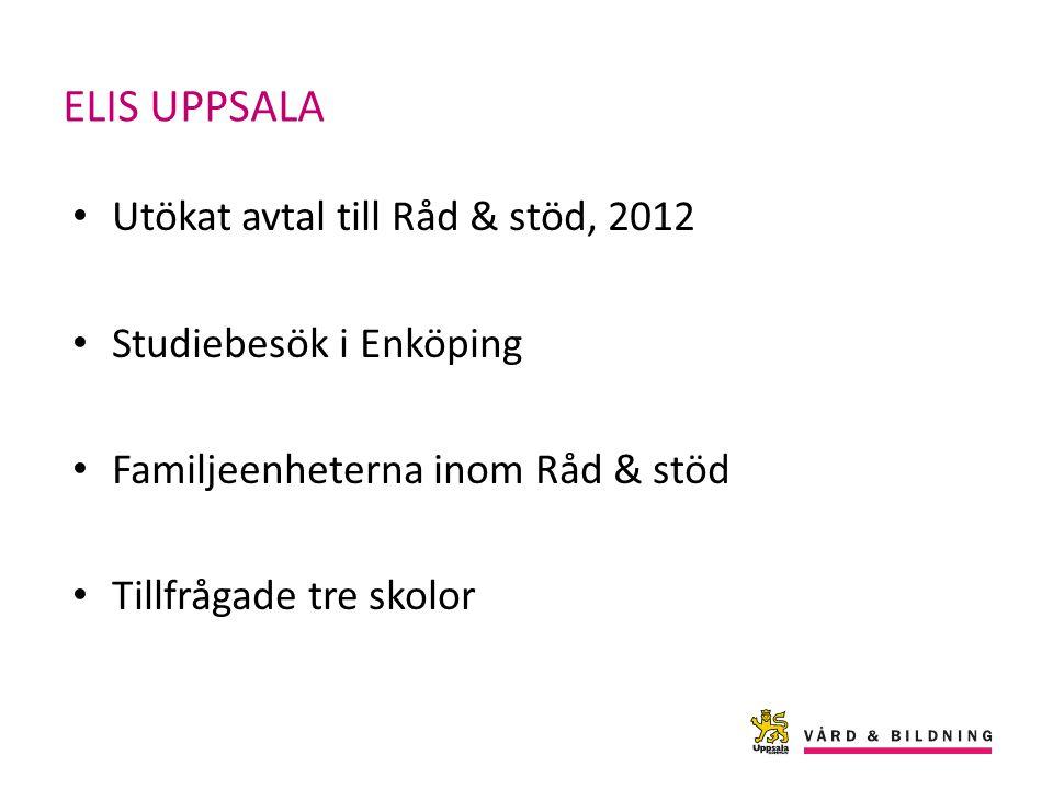 ELIS UPPSALA Utökat avtal till Råd & stöd, 2012 Studiebesök i Enköping Familjeenheterna inom Råd & stöd Tillfrågade tre skolor