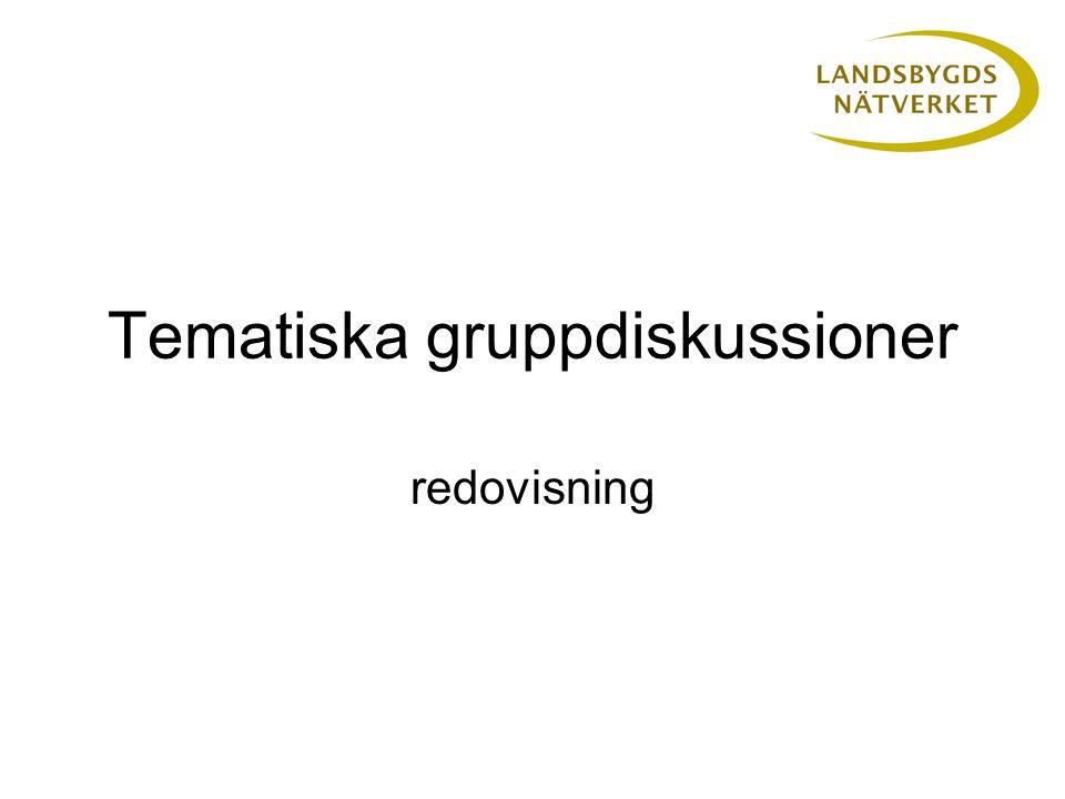Tematiska gruppdiskussioner redovisning