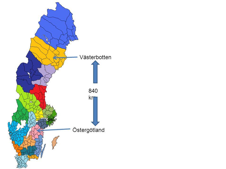 Västerbotten Östergötland 840 km