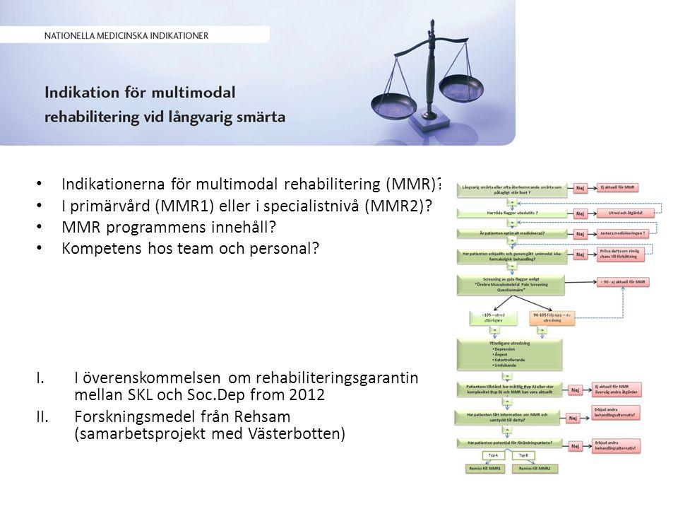 Indikationerna för multimodal rehabilitering (MMR).