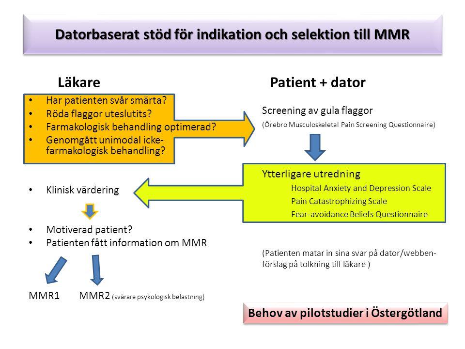 Datorbaserat stöd för indikation och selektion till MMR Läkare Har patienten svår smärta.