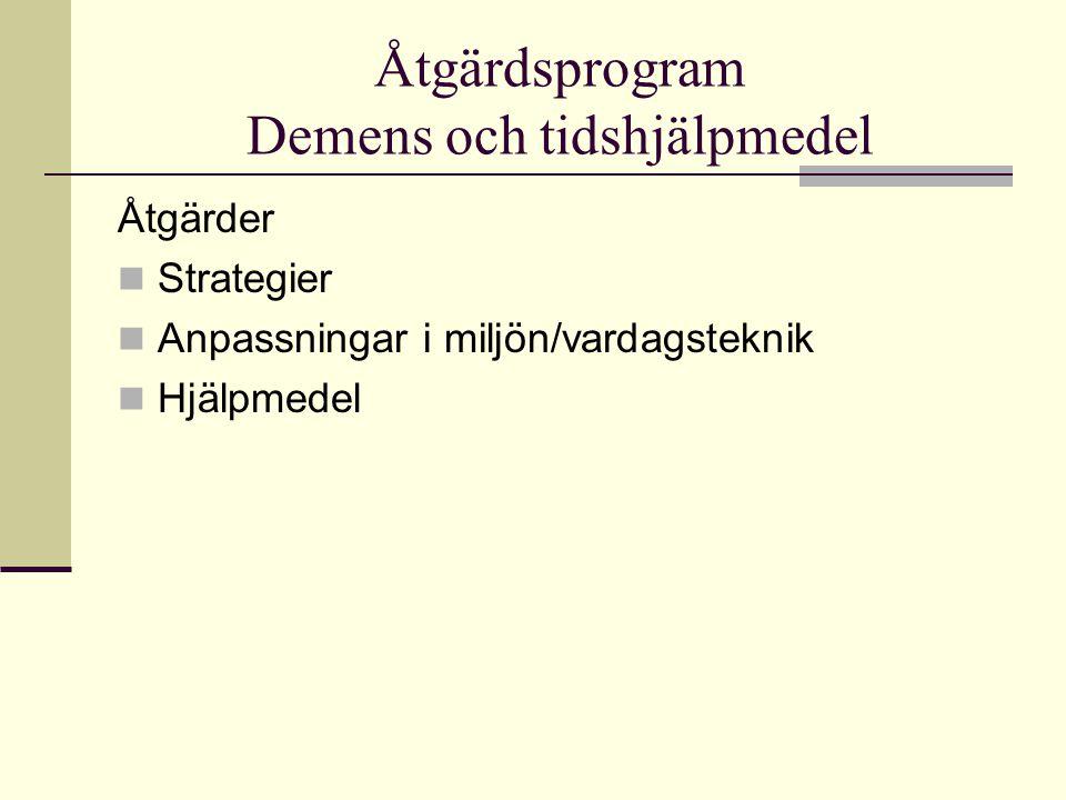 Åtgärdsprogram Demens och tidshjälpmedel Åtgärder Strategier Anpassningar i miljön/vardagsteknik Hjälpmedel