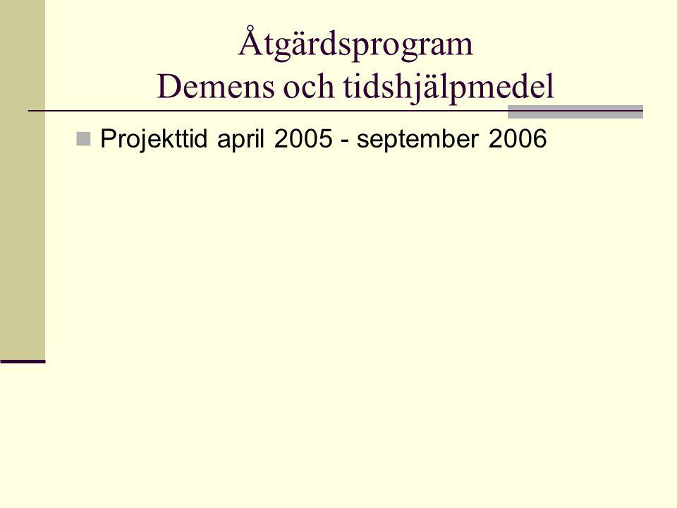 Åtgärdsprogram Demens och tidshjälpmedel Projekttid april 2005 - september 2006