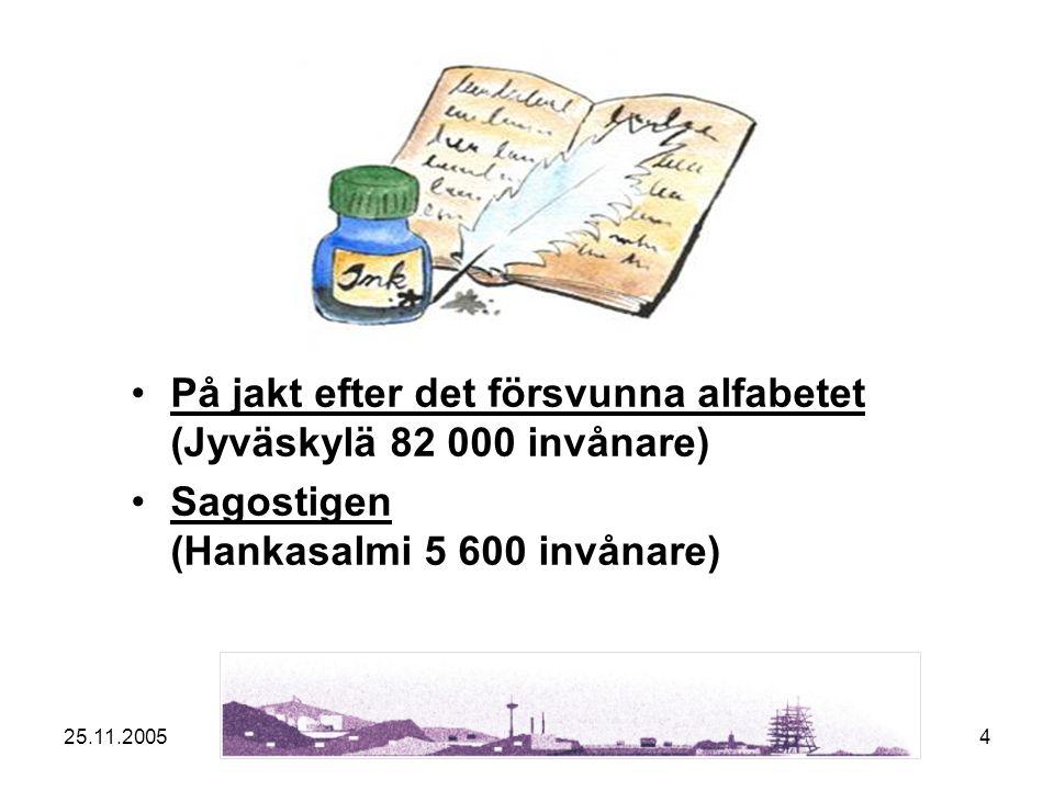 25.11.20054 På jakt efter det försvunna alfabetet (Jyväskylä 82 000 invånare)På jakt efter det försvunna alfabetet Sagostigen (Hankasalmi 5 600 invånare)Sagostigen