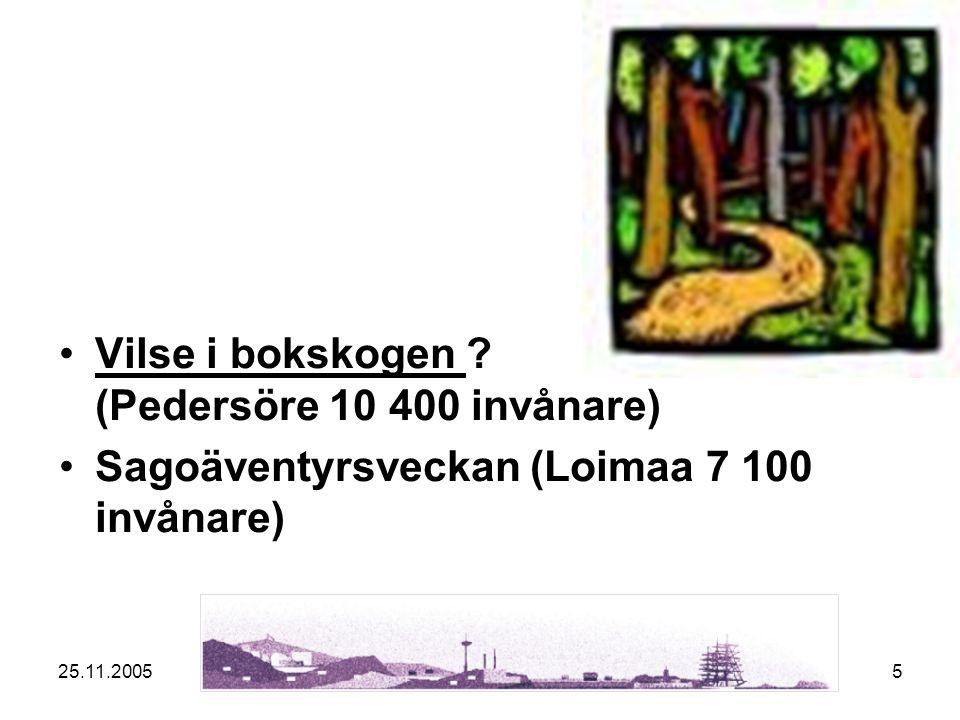 25.11.20055 Vilse i bokskogen ? (Pedersöre 10 400 invånare)Vilse i bokskogen Sagoäventyrsveckan (Loimaa 7 100 invånare)