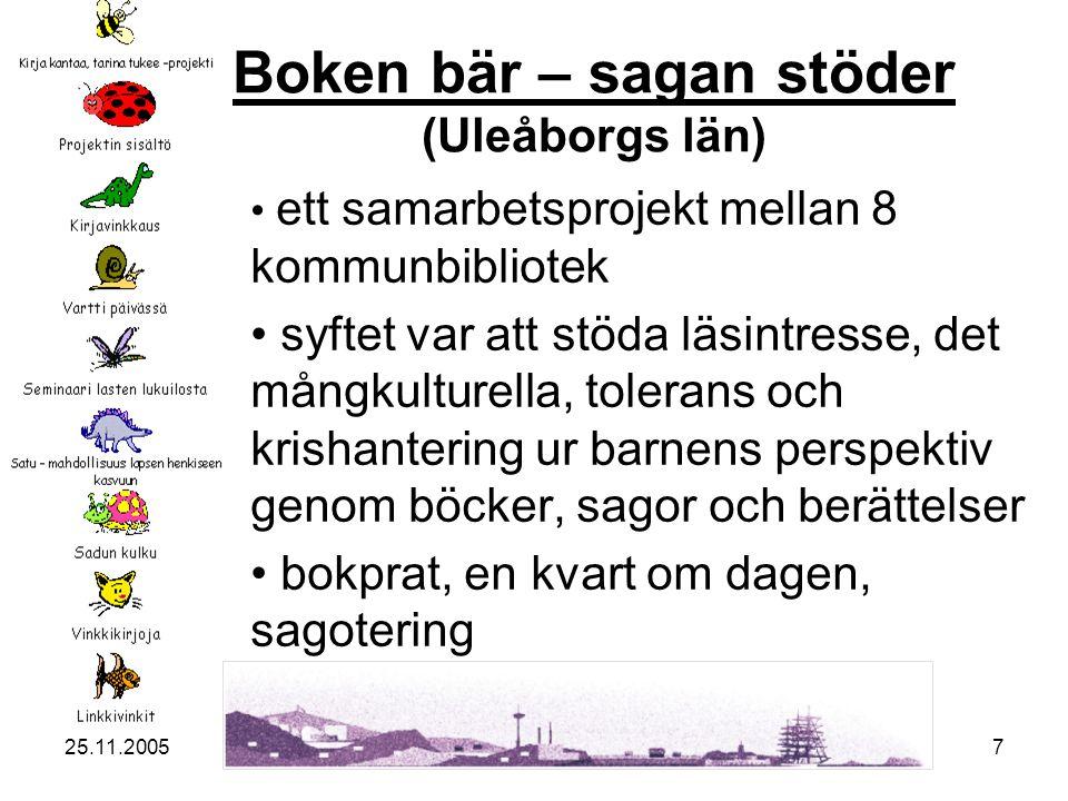 25.11.20057 Boken bär – sagan stöder Boken bär – sagan stöder (Uleåborgs län) ett samarbetsprojekt mellan 8 kommunbibliotek syftet var att stöda läsintresse, det mångkulturella, tolerans och krishantering ur barnens perspektiv genom böcker, sagor och berättelser bokprat, en kvart om dagen, sagotering