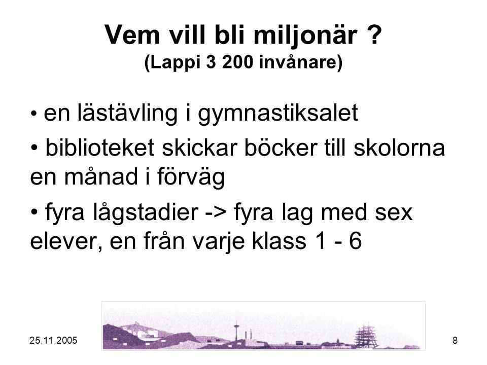25.11.20058 Vem vill bli miljonär .