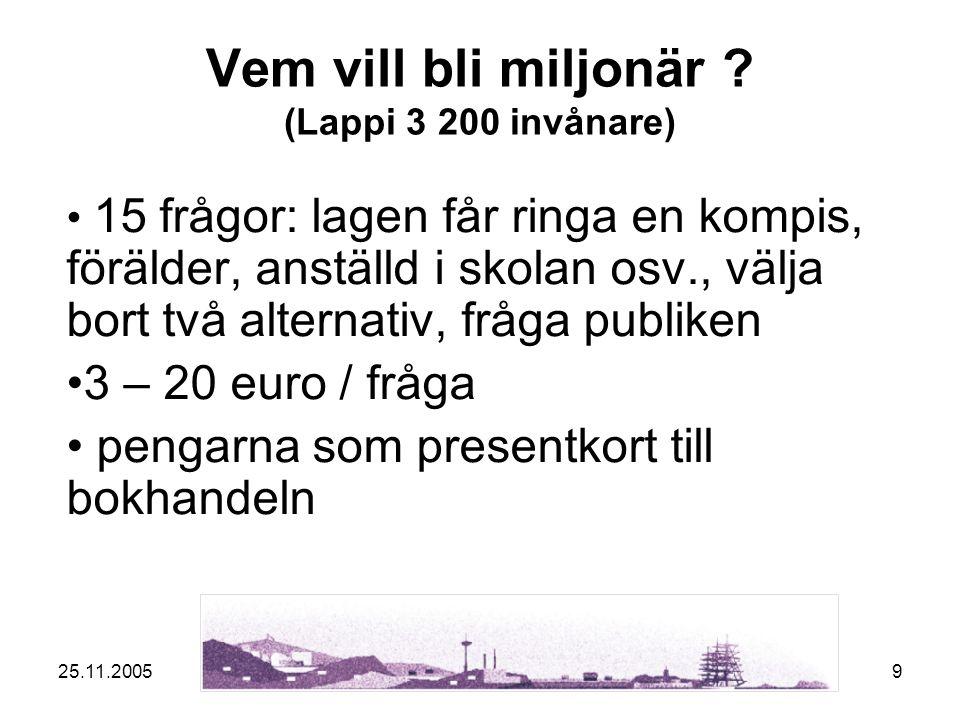 25.11.20059 Vem vill bli miljonär .