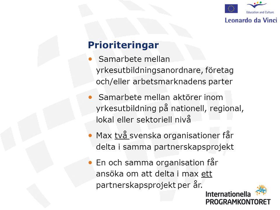 Aktiviteter Inom ett och samma partnerskapsprojekt kan olika typer av aktiviteter rymmas.