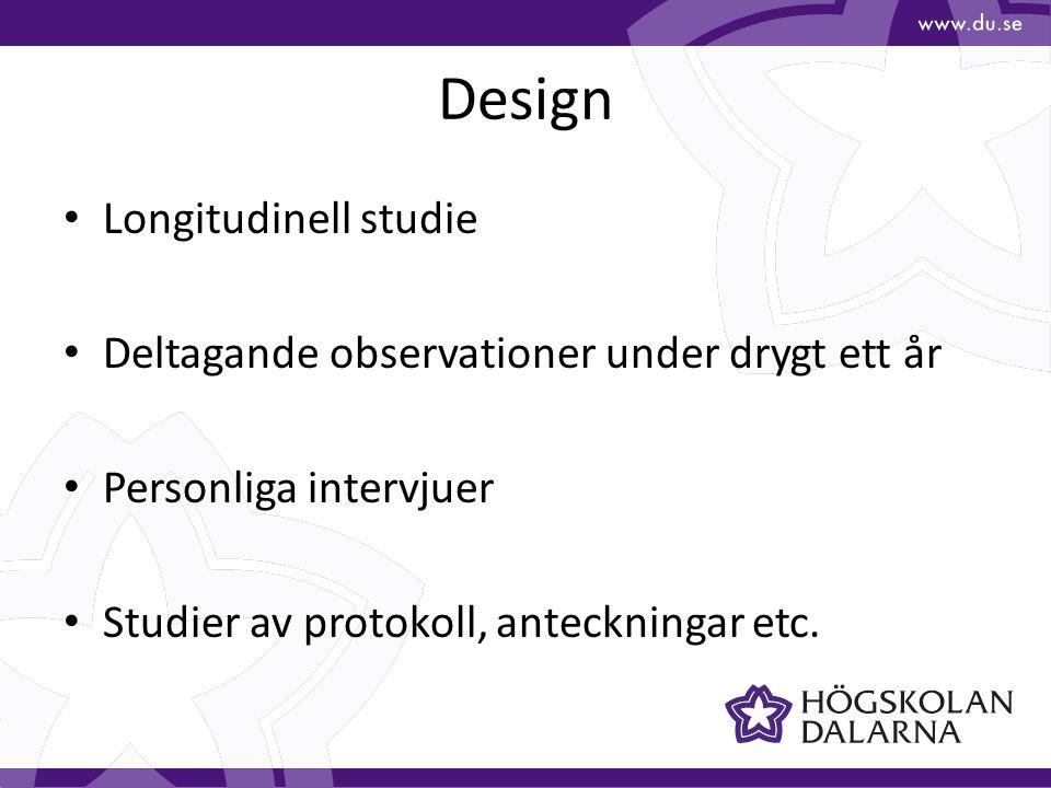Design Longitudinell studie Deltagande observationer under drygt ett år Personliga intervjuer Studier av protokoll, anteckningar etc.