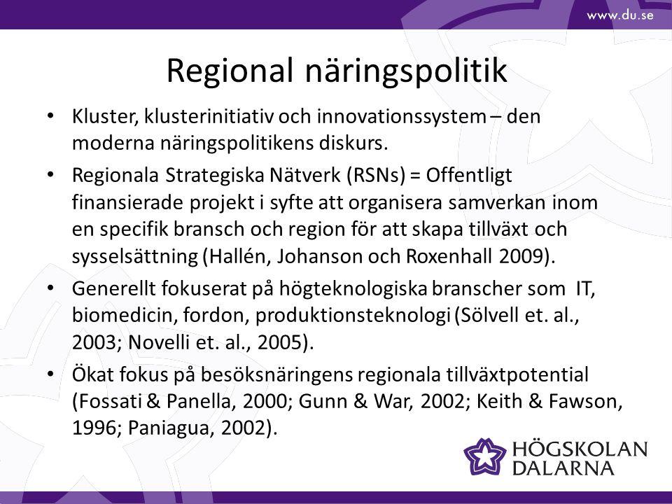 Regional näringspolitik Kluster, klusterinitiativ och innovationssystem – den moderna näringspolitikens diskurs. Regionala Strategiska Nätverk (RSNs)