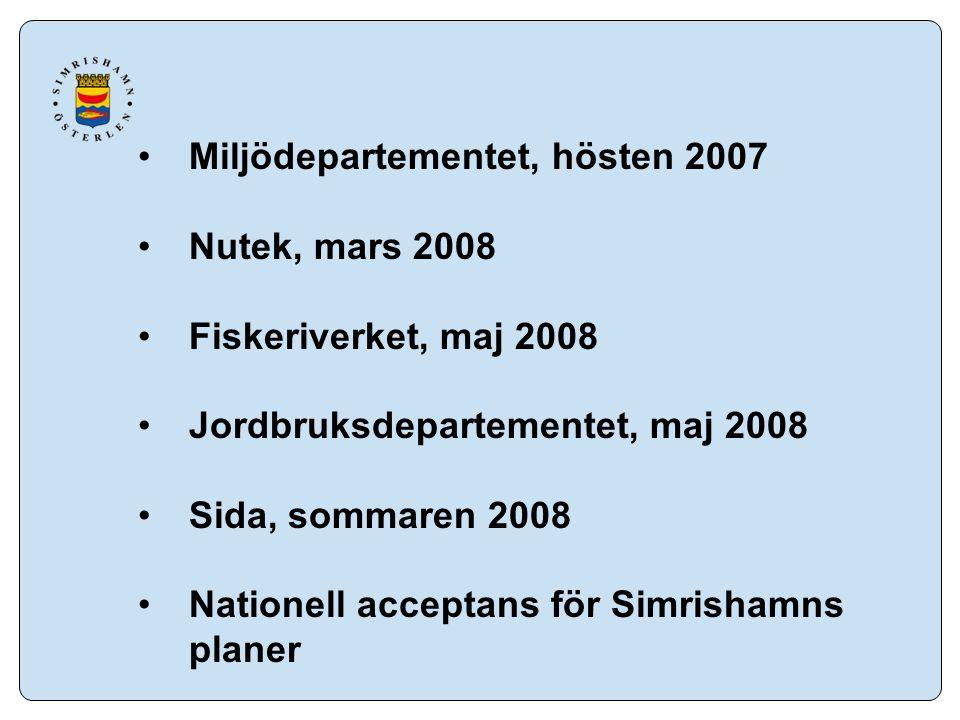 Miljödepartementet, hösten 2007 Nutek, mars 2008 Fiskeriverket, maj 2008 Jordbruksdepartementet, maj 2008 Sida, sommaren 2008 Nationell acceptans för Simrishamns planer