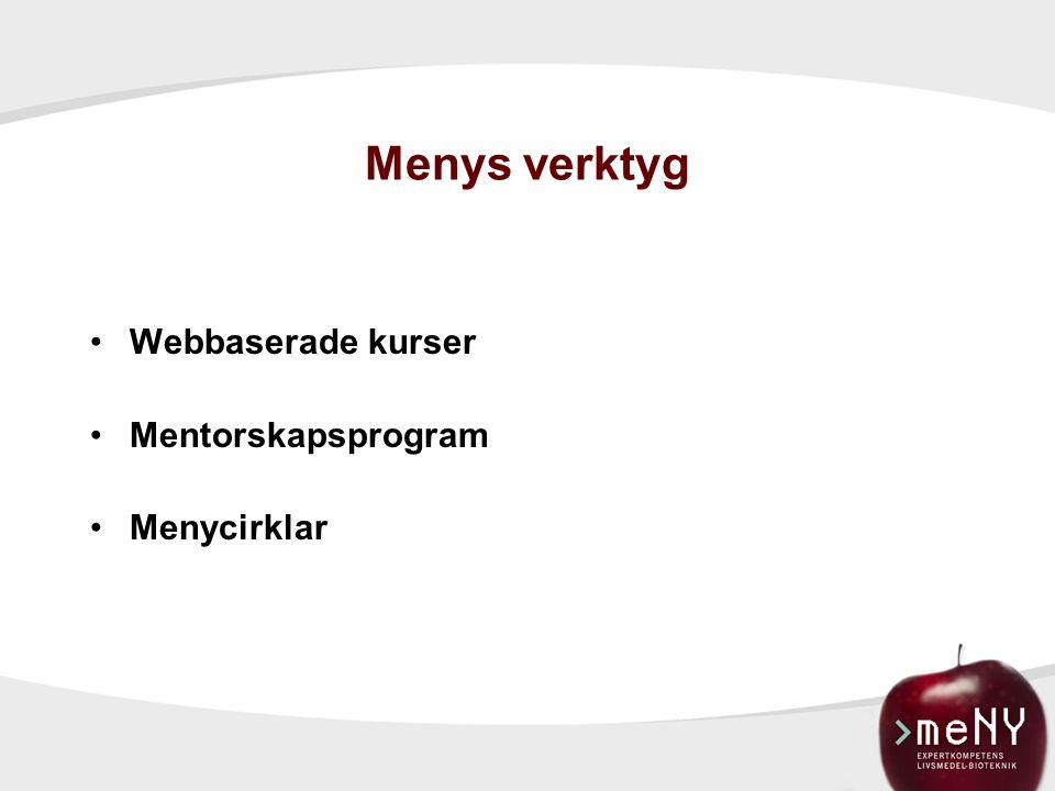 Menys verktyg Webbaserade kurser Mentorskapsprogram Menycirklar