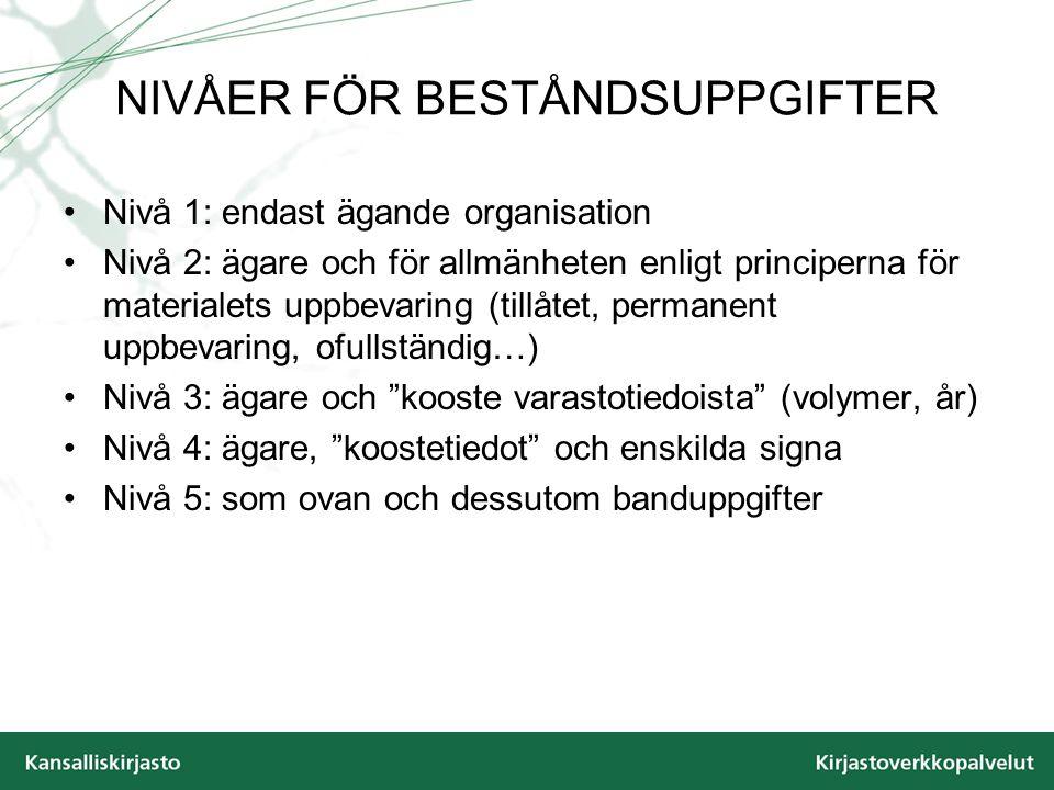 NIVÅER FÖR BESTÅNDSUPPGIFTER Nivå 1: endast ägande organisation Nivå 2: ägare och för allmänheten enligt principerna för materialets uppbevaring (till